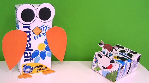 Costruiamo dei simpatici burattini con i cartoni per bevande!