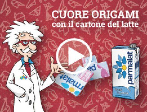 Realizza un cuore origami con il cartone del latte!