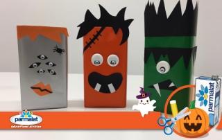 Mostri di Halloween con il cartone del latte